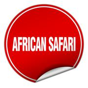 african safari round red sticker isolated on white - stock illustration