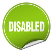 Stock Illustration of disabled round green sticker isolated on white
