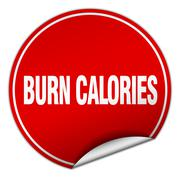 burn calories round red sticker isolated on white - stock illustration