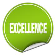 Excellence round green sticker isolated on white Stock Illustration