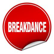 Stock Illustration of breakdance round red sticker isolated on white