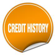 credit history round orange sticker isolated on white - stock illustration