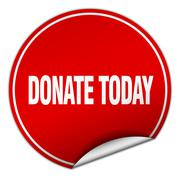 donate today round red sticker isolated on white - stock illustration