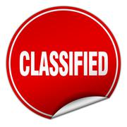 Classified round red sticker isolated on white Stock Illustration
