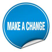 Make a change round blue sticker isolated on white Stock Illustration