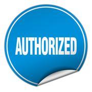 Stock Illustration of authorized round blue sticker isolated on white