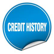 credit history round blue sticker isolated on white - stock illustration