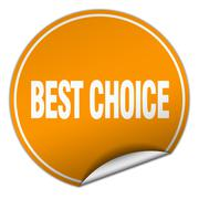 best choice round orange sticker isolated on white - stock illustration