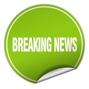 breaking news round green sticker isolated on white - stock illustration