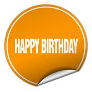 happy birthday round orange sticker isolated on white - stock illustration