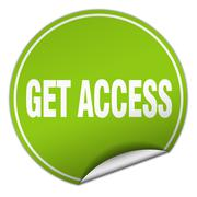 get access round green sticker isolated on white - stock illustration