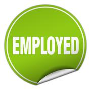 Employed round green sticker isolated on white Stock Illustration