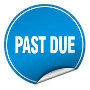 Past due round blue sticker isolated on white Stock Illustration