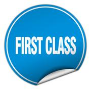 First class round blue sticker isolated on white Stock Illustration