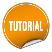 tutorial round orange sticker isolated on white - stock illustration