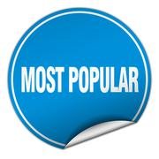 most popular round blue sticker isolated on white - stock illustration