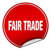 Stock Illustration of fair trade round red sticker isolated on white