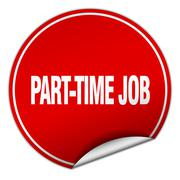 part-time job round red sticker isolated on white - stock illustration