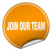 join our team round orange sticker isolated on white - stock illustration