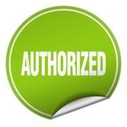 authorized round green sticker isolated on white - stock illustration