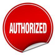 authorized round red sticker isolated on white - stock illustration