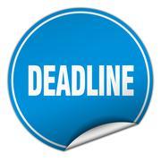 Stock Illustration of deadline round blue sticker isolated on white
