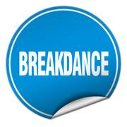 Stock Illustration of breakdance round blue sticker isolated on white