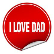 i love dad round red sticker isolated on white - stock illustration