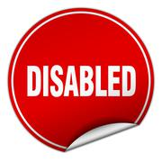 Disabled round red sticker isolated on white Stock Illustration