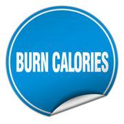 burn calories round blue sticker isolated on white - stock illustration