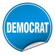 Democrat round blue sticker isolated on white Stock Illustration