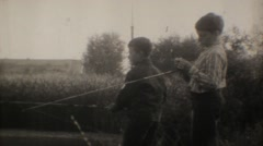 USSR 1970s - Pioneers fishing - stock footage