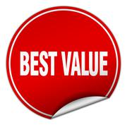 Stock Illustration of best value round red sticker isolated on white