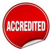 accredited round red sticker isolated on white - stock illustration