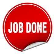 Job done round red sticker isolated on white Stock Illustration