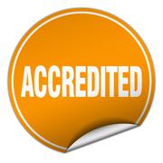 Accredited round orange sticker isolated on white Stock Illustration