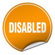 disabled round orange sticker isolated on white - stock illustration