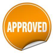 approved round orange sticker isolated on white - stock illustration