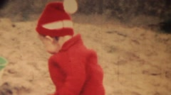 Small children in red.  Portrait of 1960s Stock Footage