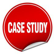 Stock Illustration of case study round red sticker isolated on white