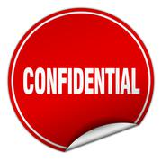 confidential round red sticker isolated on white - stock illustration