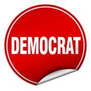 Democrat round red sticker isolated on white Stock Illustration