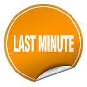 last minute round orange sticker isolated on white - stock illustration