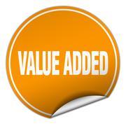 value added round orange sticker isolated on white - stock illustration
