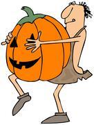 Caveman carrying a large pumpkin - stock illustration