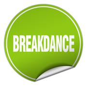 breakdance round green sticker isolated on white - stock illustration