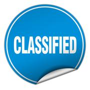 Classified round blue sticker isolated on white Stock Illustration