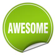awesome round green sticker isolated on white - stock illustration