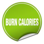Stock Illustration of burn calories round green sticker isolated on white