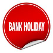bank holiday round red sticker isolated on white - stock illustration
